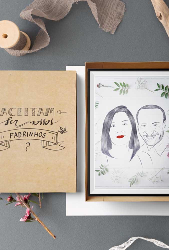 Que tal uma caricatura fofa dos padrinhos para ilustrar o convite? Eles vão amar!