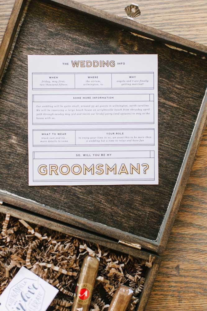 Convite para padrinho de casamento detalhado e com todas as informações bem explicadinhas