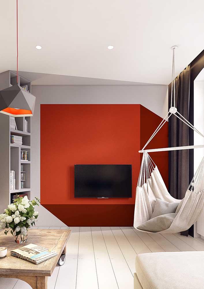 Sala vermelha e cinza: moderna e elegante