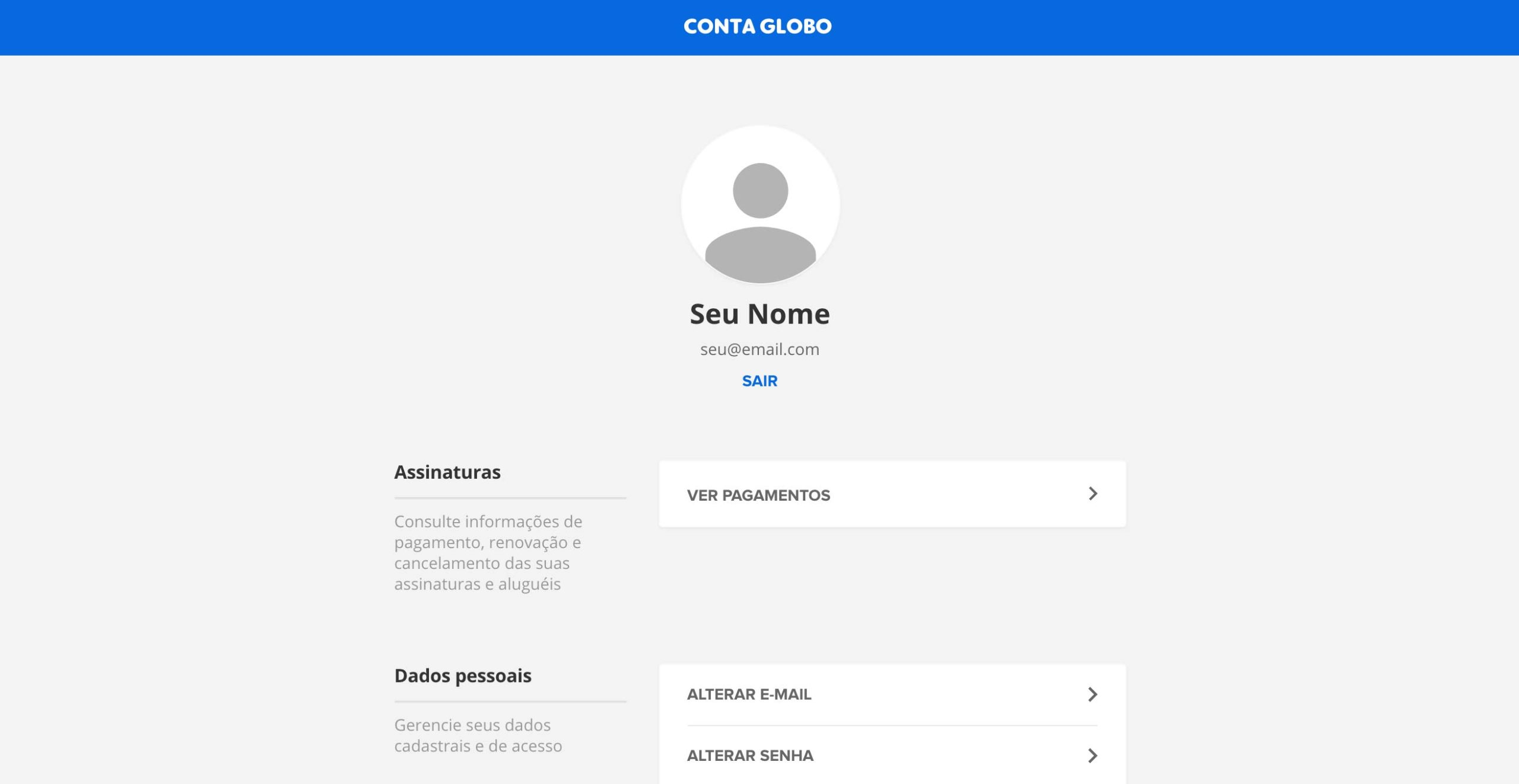 Sua conta na Globo Play