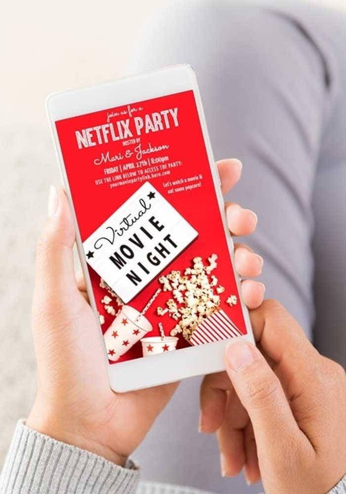 Modelo de convite virtual para a festa cinema