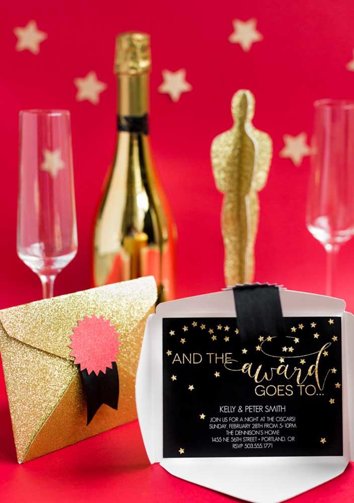 Inspiração de convite para festa cinema para lá de elegante