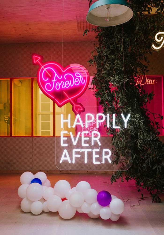 Letreiro neon para a recepção do casamento