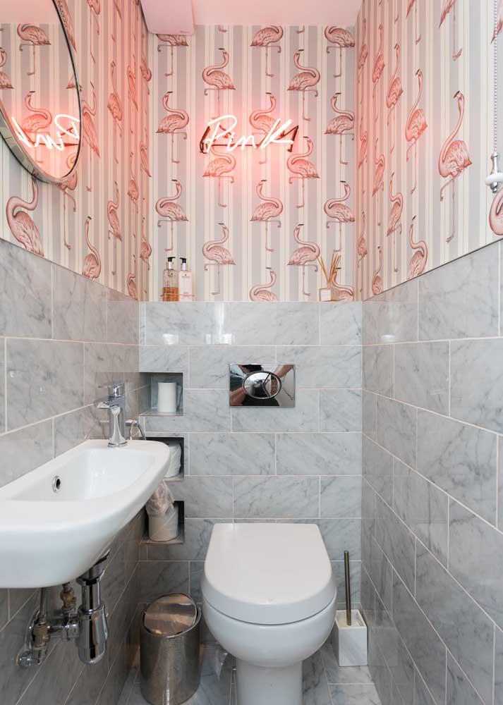 Como deixar um lavabo incrível? Com um letreiro neon!
