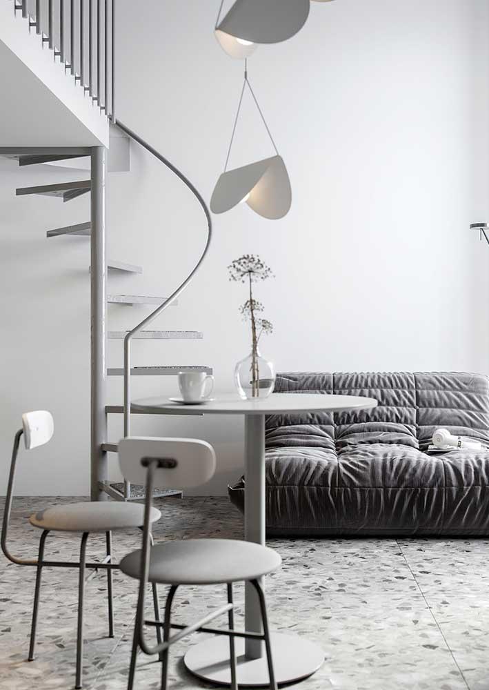 Piso de granilite cinza para a sala de estar neutra e moderna