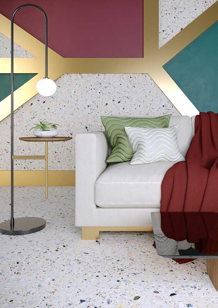 A sala de estar contemporânea apostou no granilite como elemento diferencial