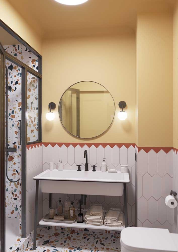 Banheiro estilo retrô combina com o quê? Granilite, é claro!