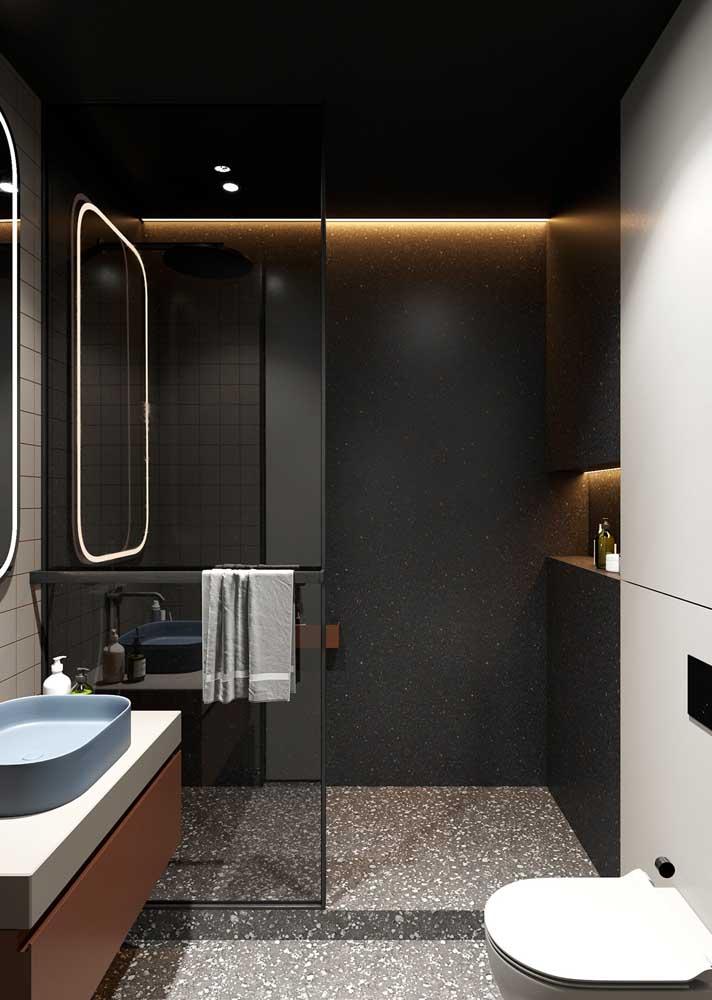 Inspiração de composição de granilite para o piso e para a parede do banheiro