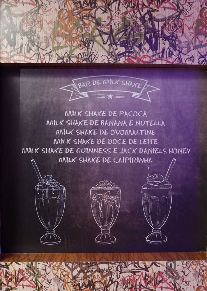 O que mais combina com hambúrguer? Milk Shake! Faça um cantinho só para a bebida