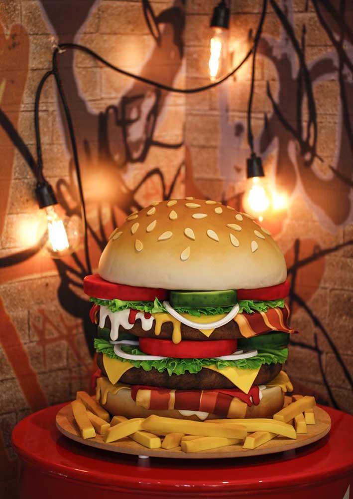 Hambúrguer gigante para decorar a noite temática