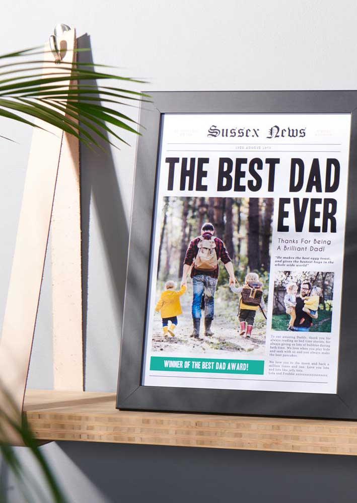 Papai capa de jornal! Olha que presente criativo para o seu pai