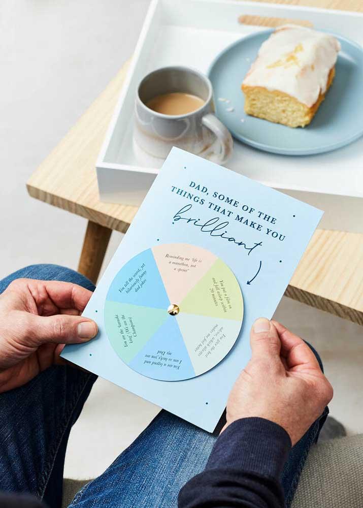 E junto com o café da manhã inclua também uma lista de coisas que torna o seu pai tão especial