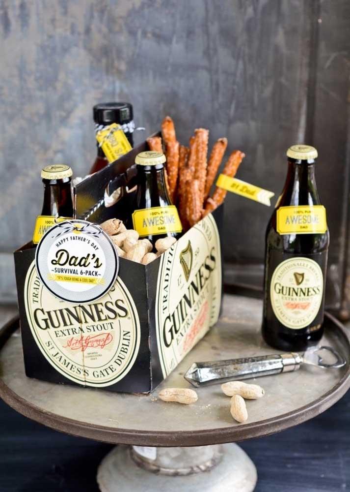 Cerveja e aperitivo para o dia dos pais