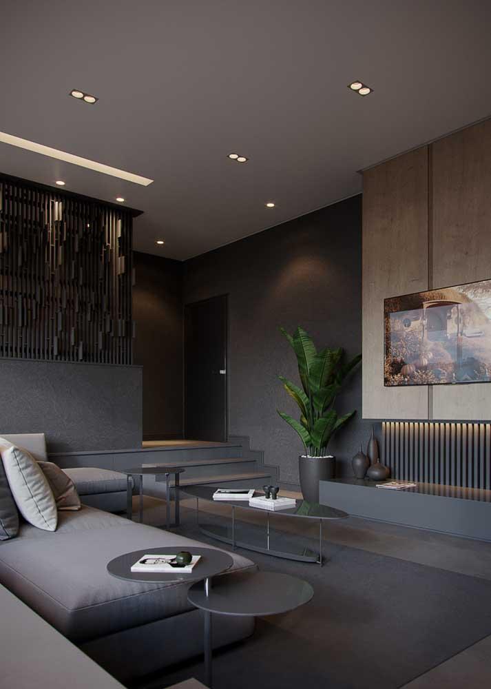 Sala moderna em tons de preto e cinza