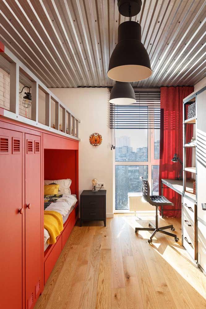 Quer um quarto de solteiro bem moderno? Então aposte no uso das telhas sanduíche na decoração