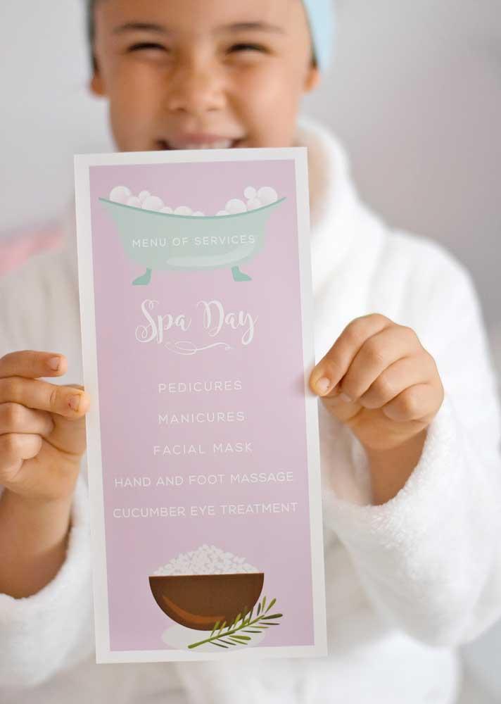 """Crie um """"menu"""" com todos os serviços disponíveis no seu Spa Day"""