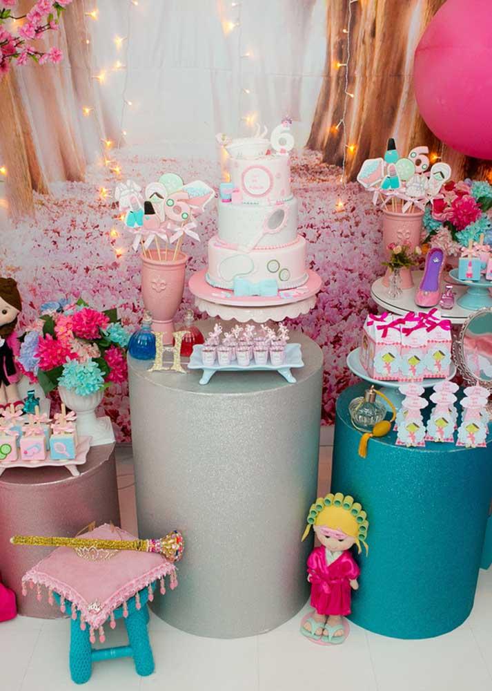 Spa Day infantil decorado em tons de rosa e azul