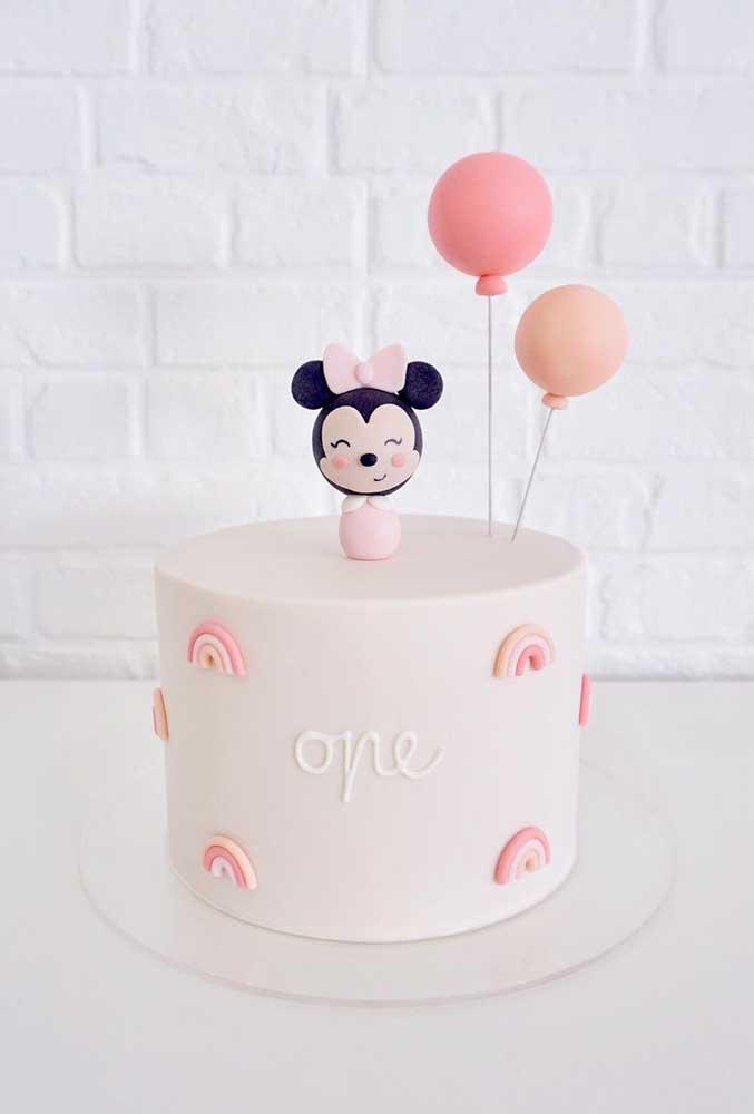 O bolo da Minnie mais simples, delicado e fofo que você já viu na vida!
