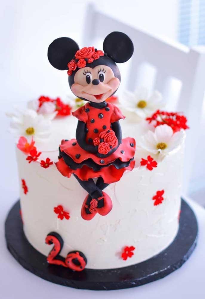Minnie de biscuit para o topo do bolo