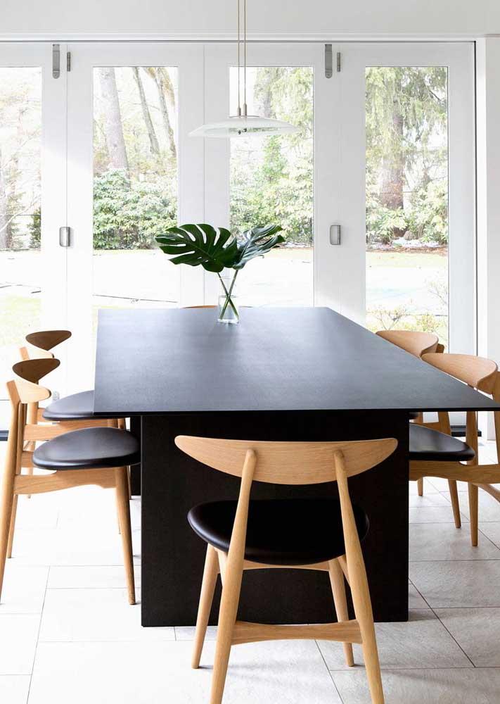 Mesa de jantar moderna retangular para 6 pessoas
