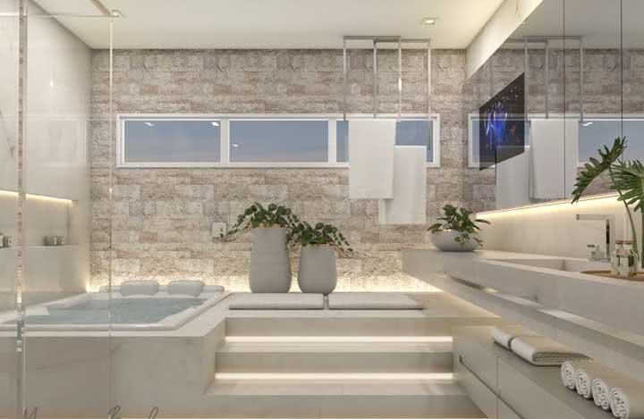 Banheiro elegante e sofisticado para receber a jacuzzi