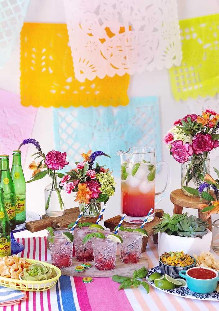 Decoração de jantar mexicano: colorido e alegre