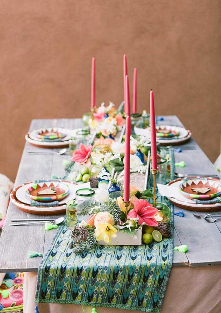 Cores, velas e flores