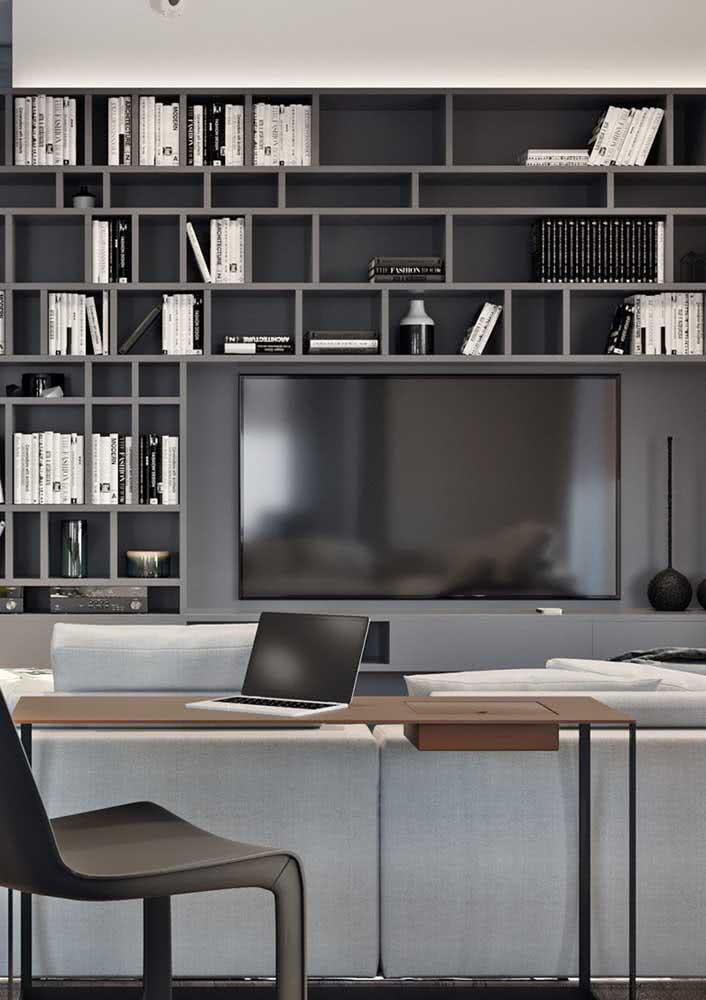 Estante para sala planejada com espaço para a TV