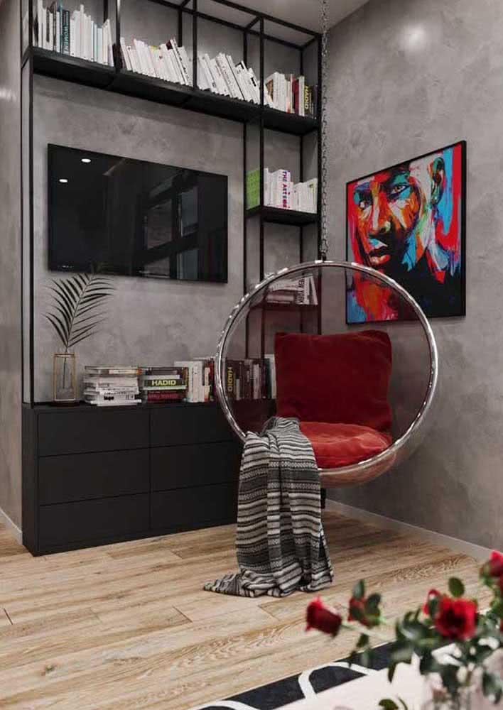 Estante para sala preta com design moderno