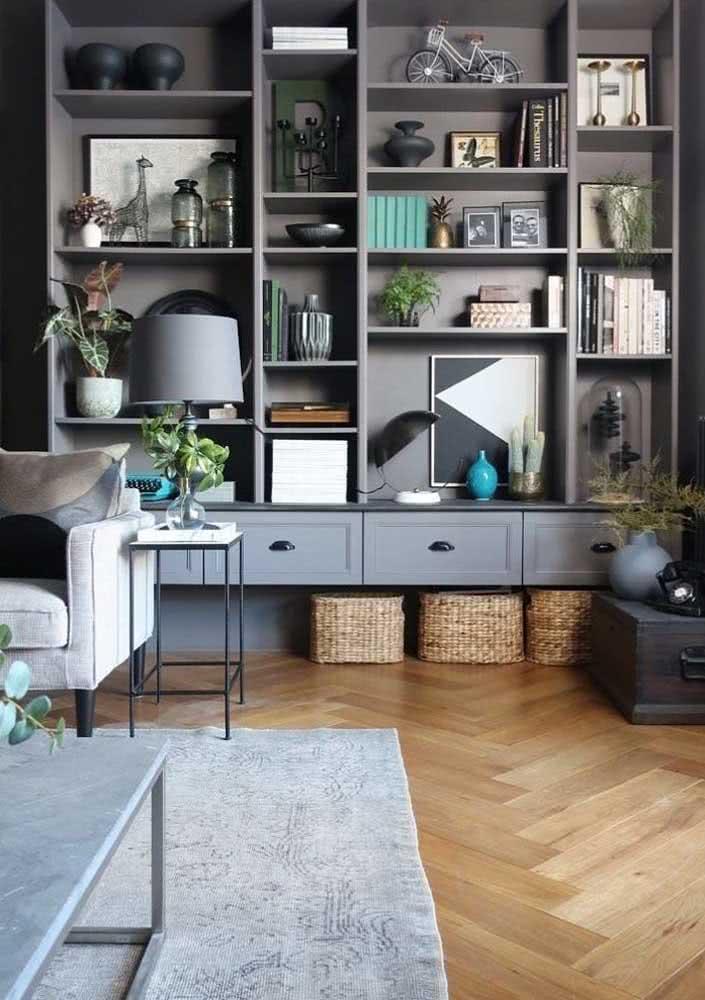 Estante para sala com nichos e gavetas: perfeita para decorar e organizar tudo o que você precisa