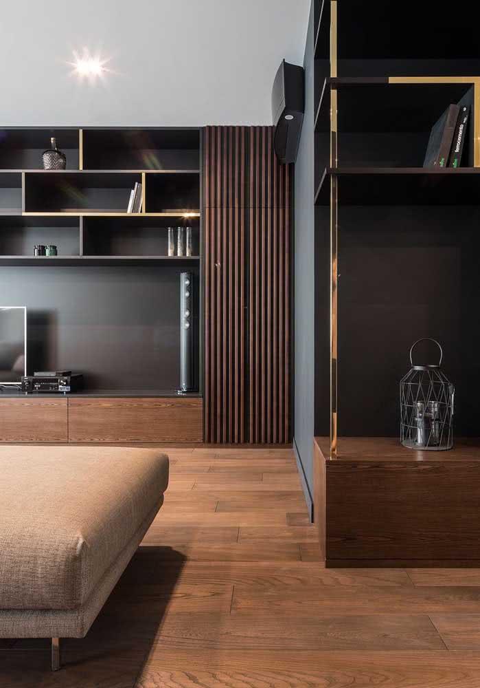 Piso de madeira escura para sala de estar