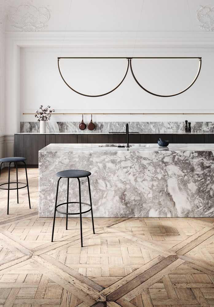 Piso de madeira parquet na cozinha: visual rústico e aconchegante