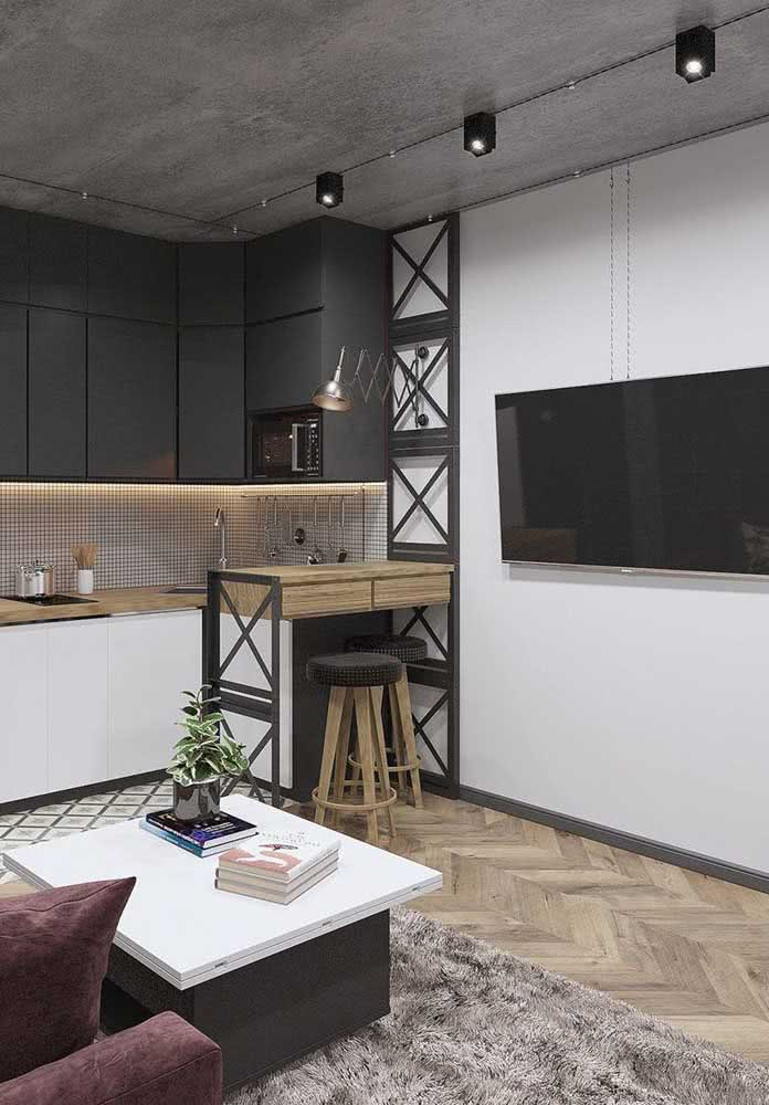 Taco de madeira em uma composição mais moderna.