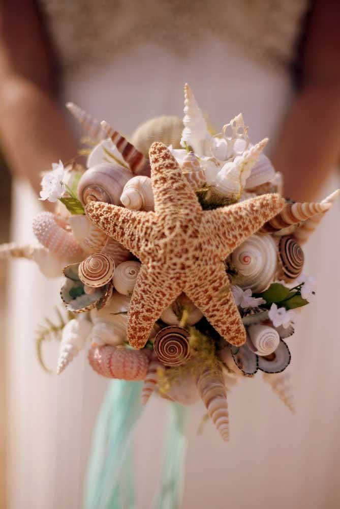 Essa ideia é para as noivas: buquê de conchas do mar