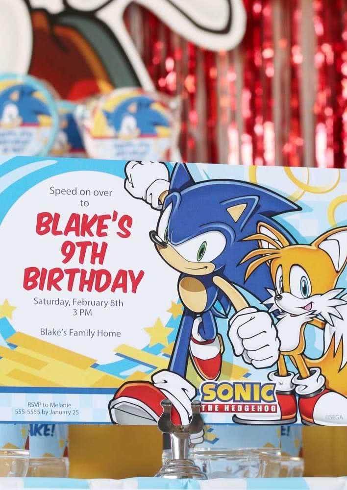 Ideia de convite para Festa Sonic. Personalize, mas sem sair do tema da festa