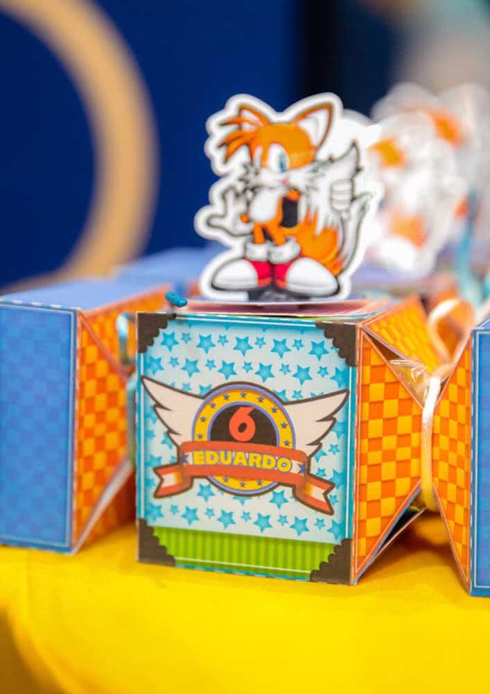Caixinhas surpresas para a lembrancinha da Festa Sonic