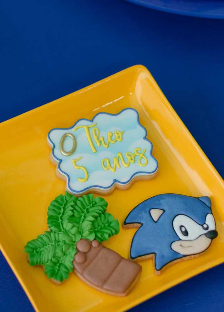 Biscoitos personalizados para festa Sonic. Crie os desenhos e os recadinhos que desejar