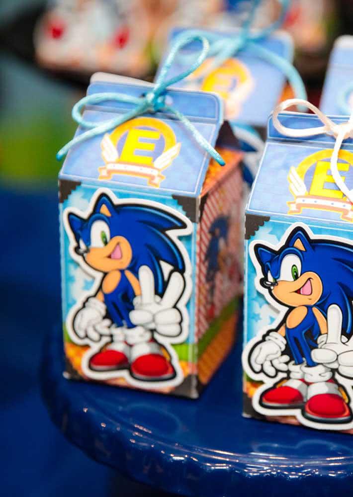 Caixinha surpresa do Sonic para as crianças levarem para casa