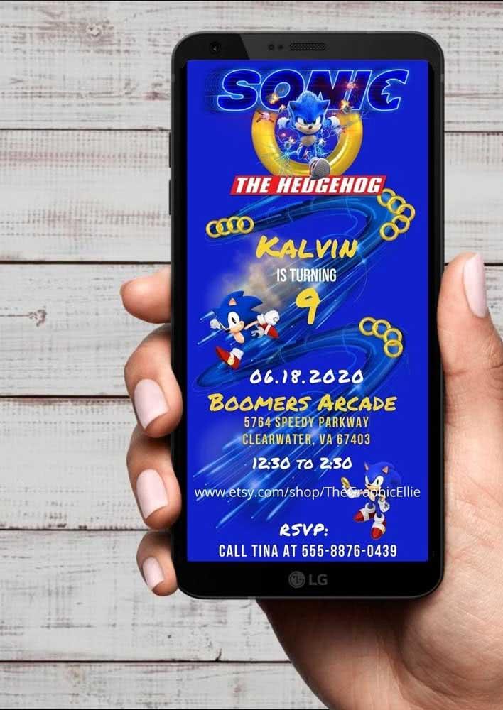 Inspiração de convite digital para a festa Sonic