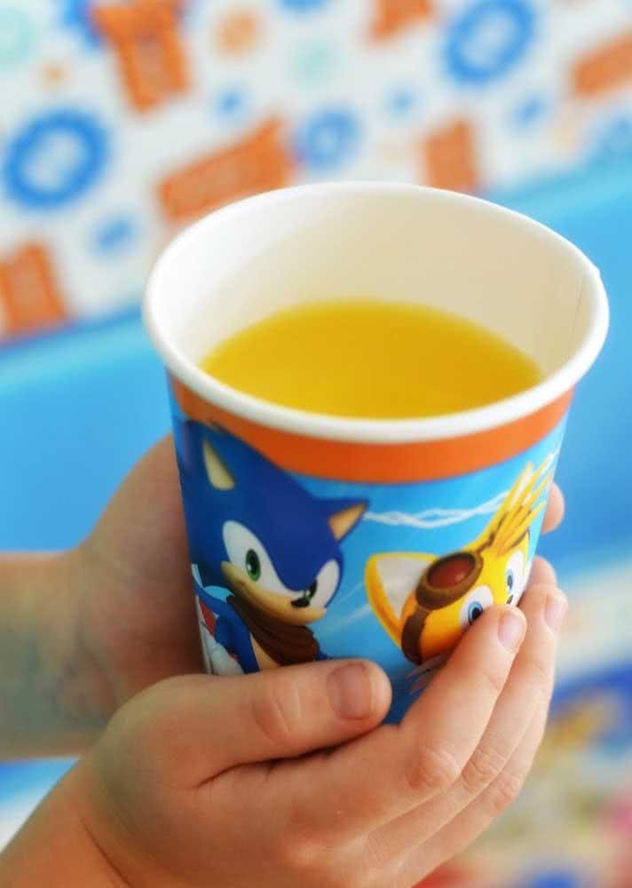 Copo do Sonic para completar a decoração da festa