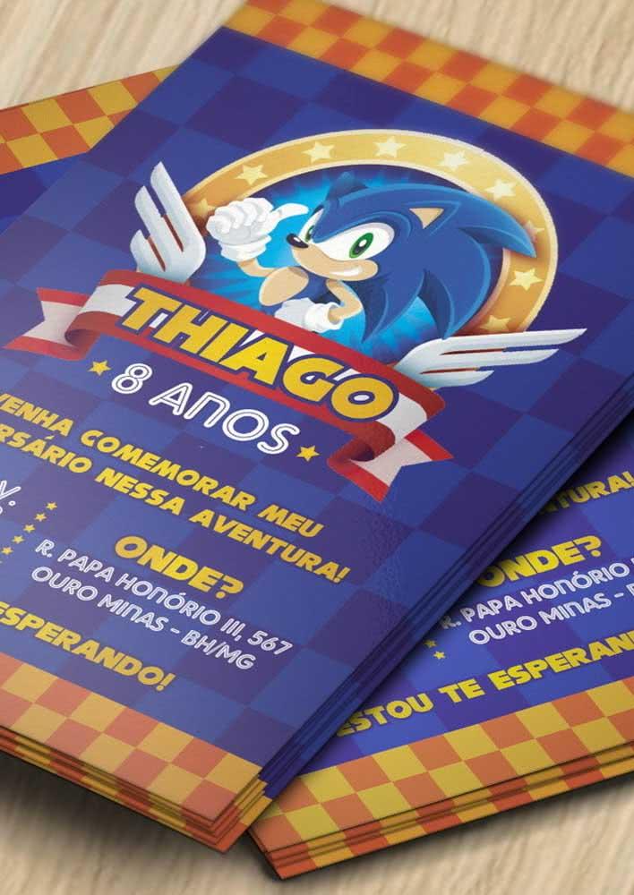 Convite simples para festa Sonic, mas que super representa o personagem