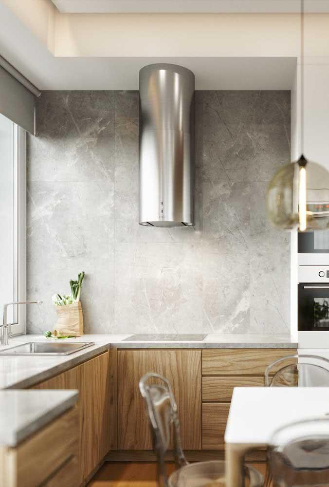 Bancada de porcelanato cinza para a cozinha clean. Nada de emendas visíveis por aqui