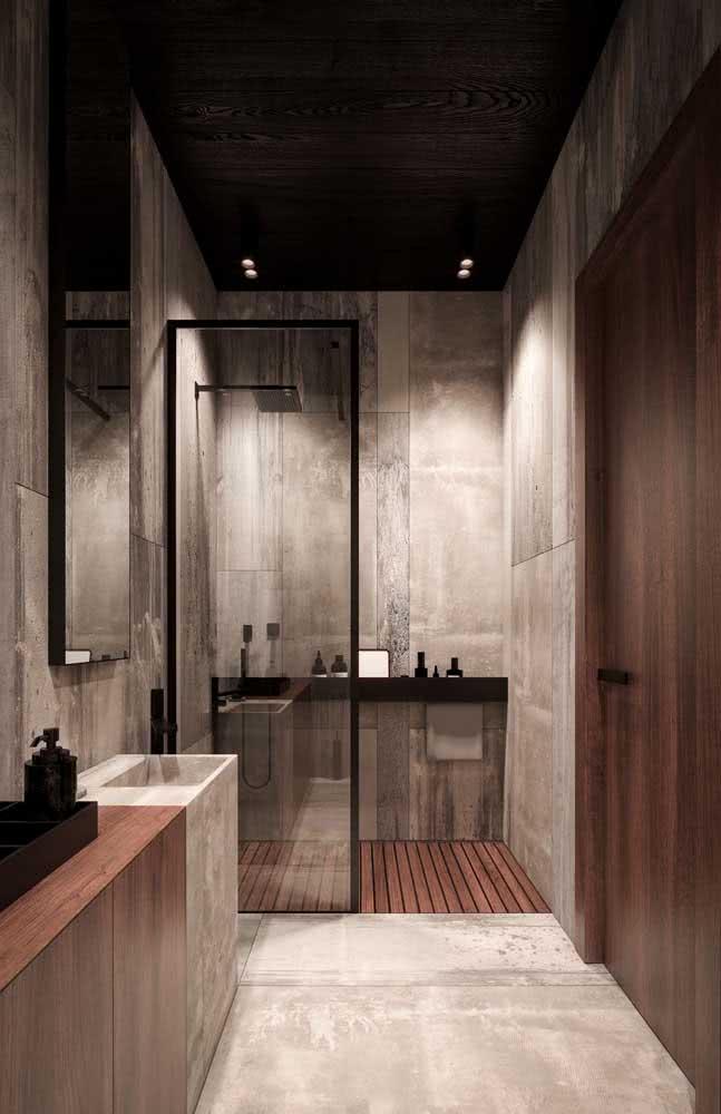 E o que acha desse banheiro super moderno com bancada de porcelanato na mesma cor e textura do piso e da parede?
