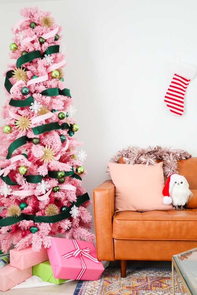 Árvore de natal rosa, topa?