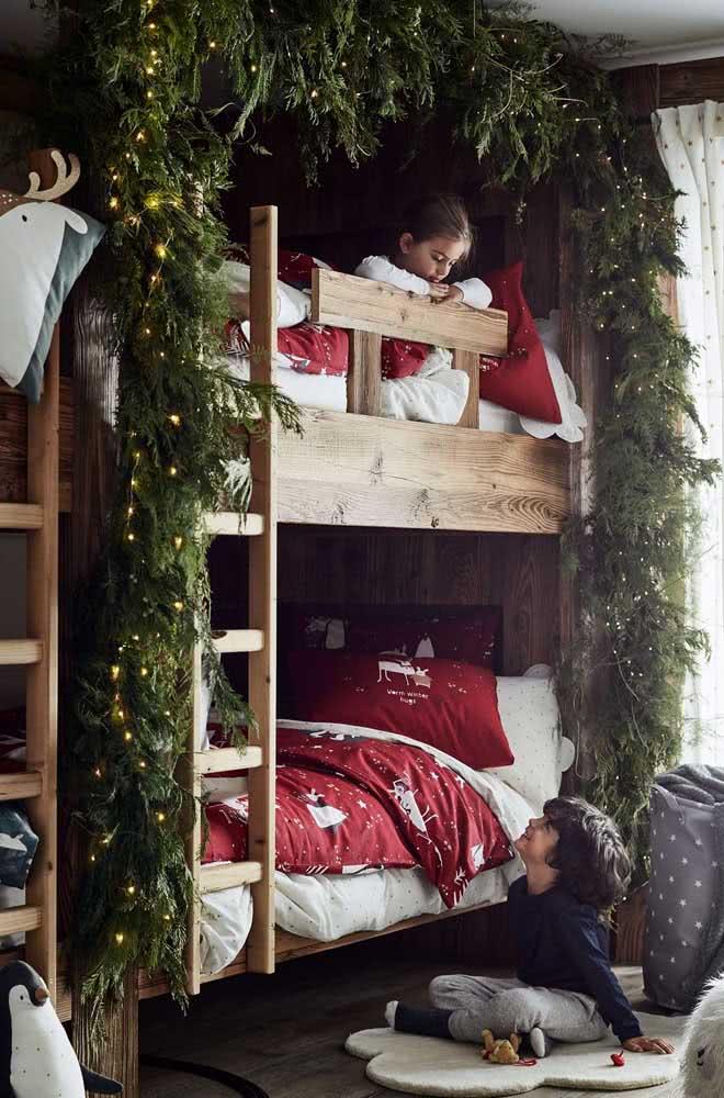 O quarto das crianças também ganhou decoração natalina especial