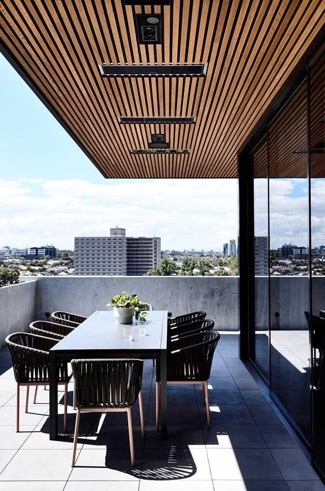 Área gourmet pequena de apartamento decorada em estilo moderno