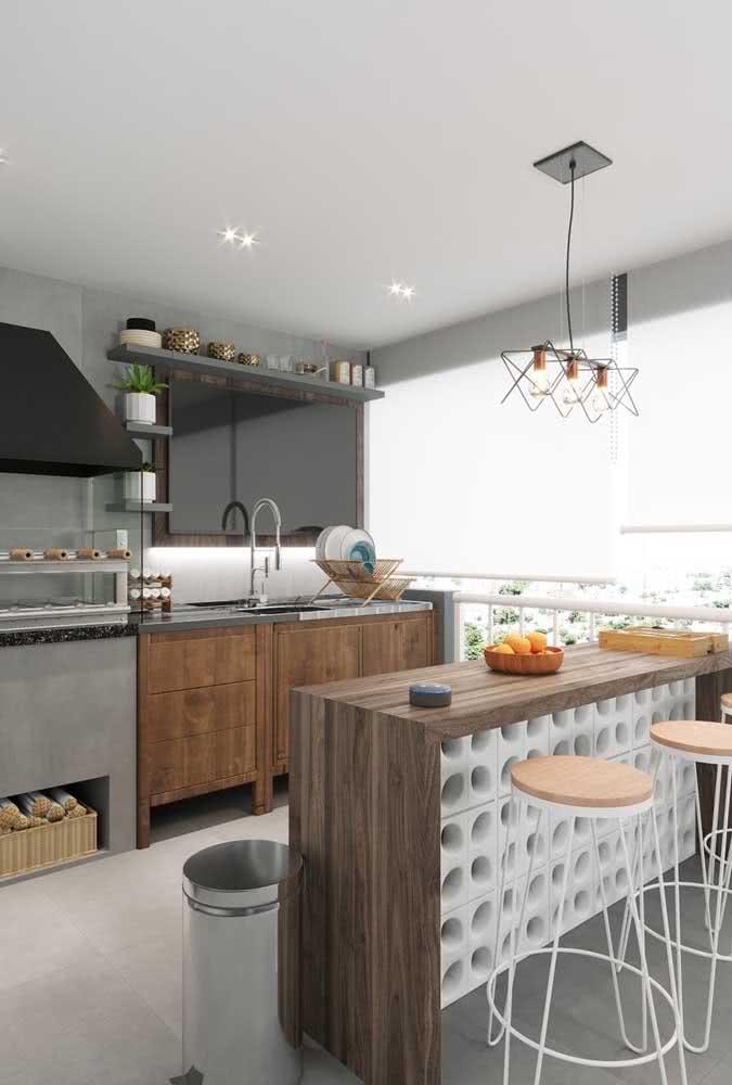 Área gourmet pequena de apartamento super funcional e confortável