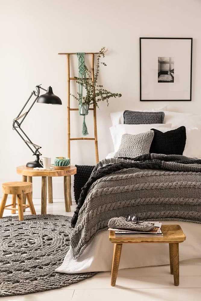Manta de crochê para a cama e tapete de crochê para o chão