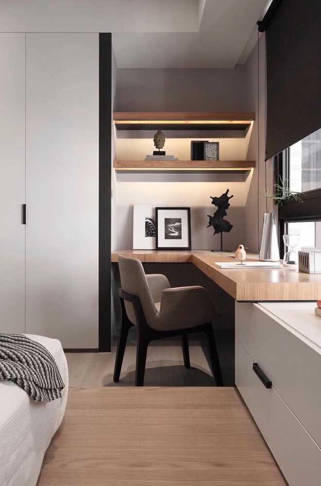 Cadeira para home office estilo poltrona combinando com a decoração do quarto