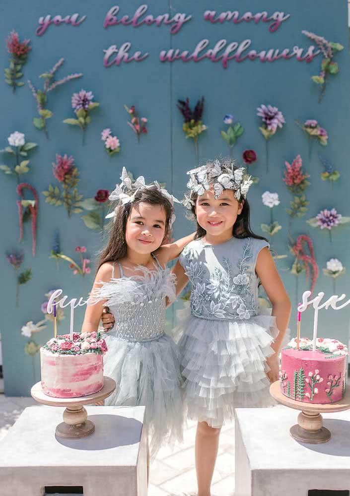 Festa infantil Jardim das Borboletas para as meninas gêmeas